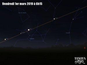 Observation écliptique - Allignement Vénus - Saturne - Lune - Jupiter (1/03/2019)